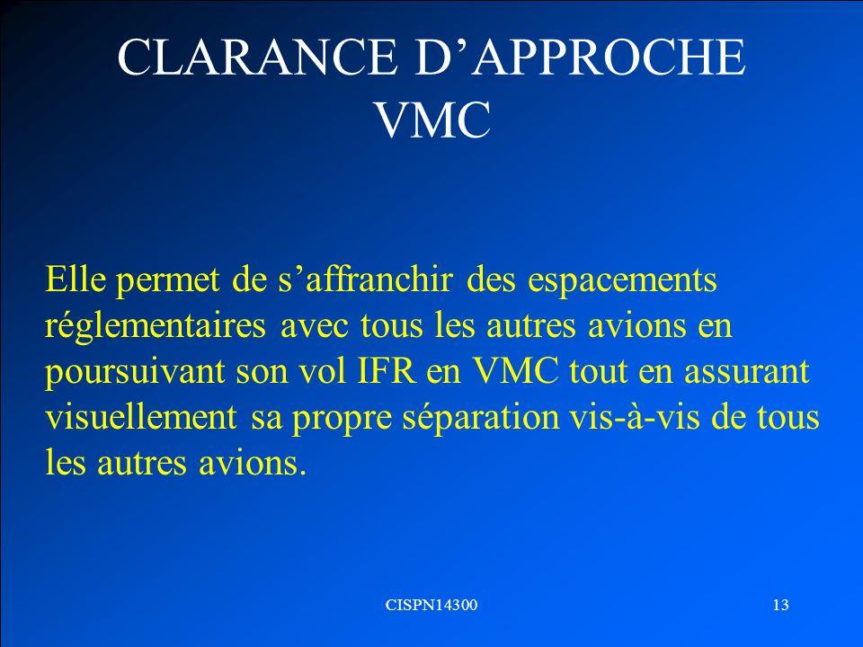 CLARANCE D'APPROCHE VMC