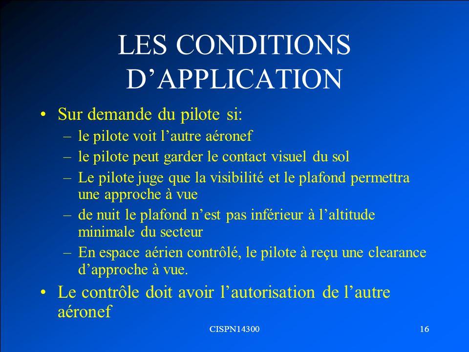 LES CONDITIONS D'APPLICATION