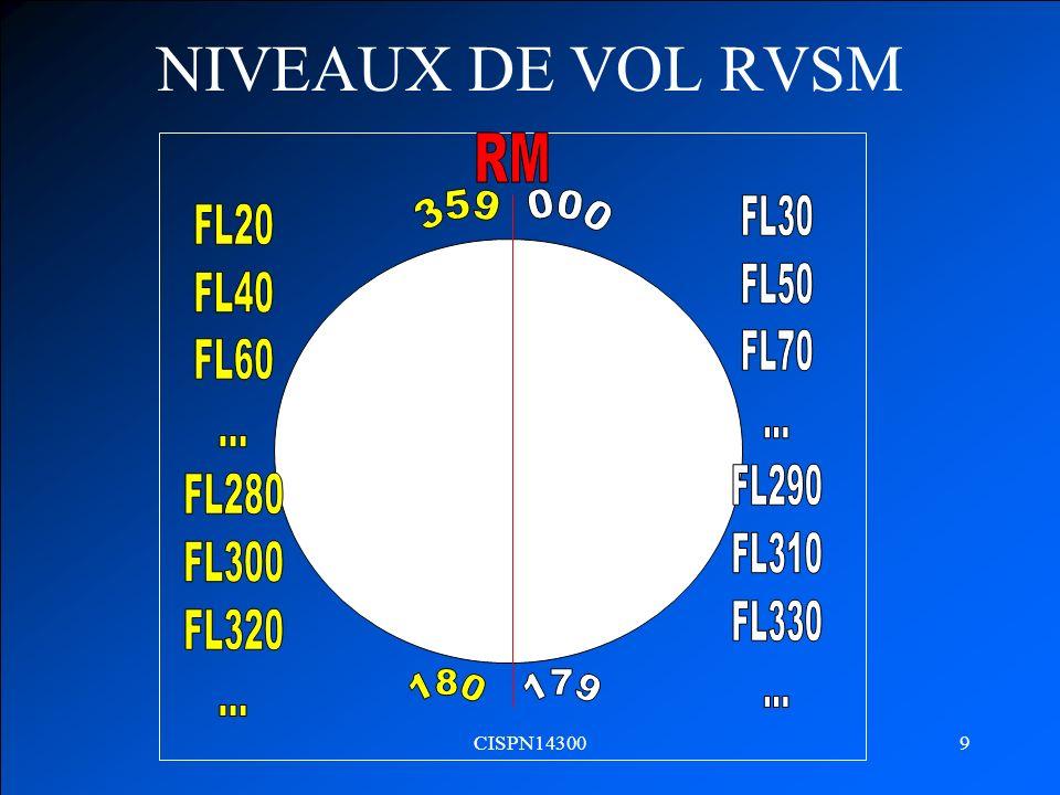 NIVEAUX DE VOL RVSM 000 359 FL30 FL50 FL70 ... FL290 FL310 FL330 FL20