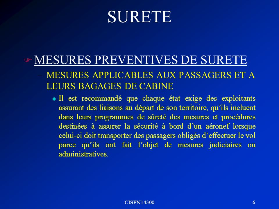 SURETE MESURES PREVENTIVES DE SURETE