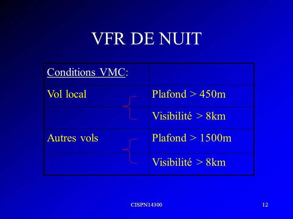 VFR DE NUIT Conditions VMC: Vol local Plafond > 450m