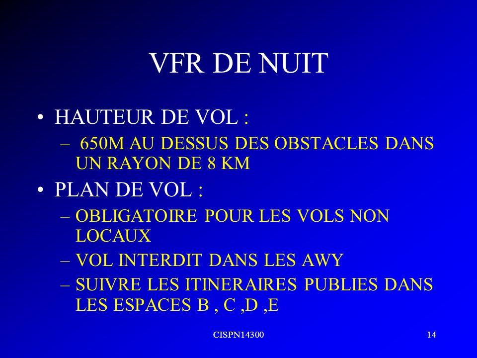 VFR DE NUIT HAUTEUR DE VOL : PLAN DE VOL :