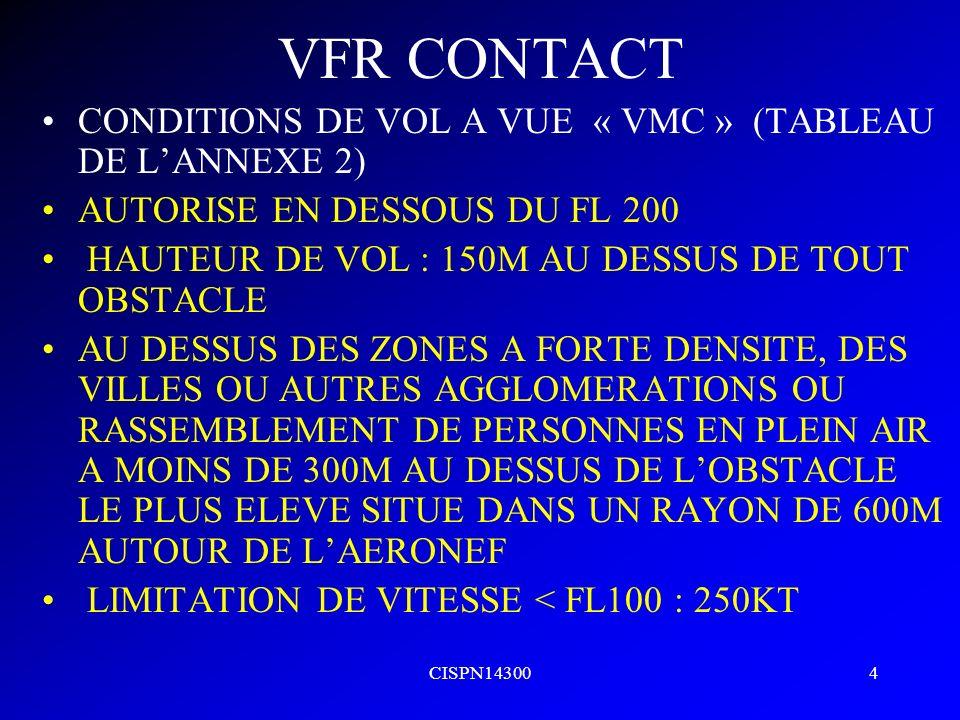 VFR CONTACT CONDITIONS DE VOL A VUE « VMC » (TABLEAU DE L'ANNEXE 2)
