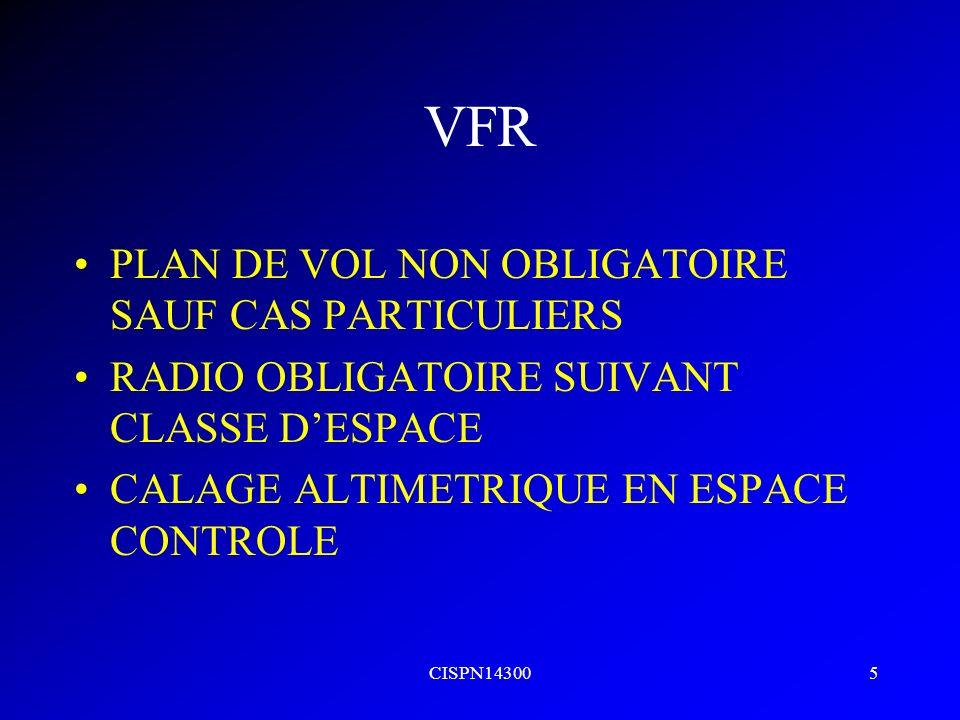 VFR PLAN DE VOL NON OBLIGATOIRE SAUF CAS PARTICULIERS