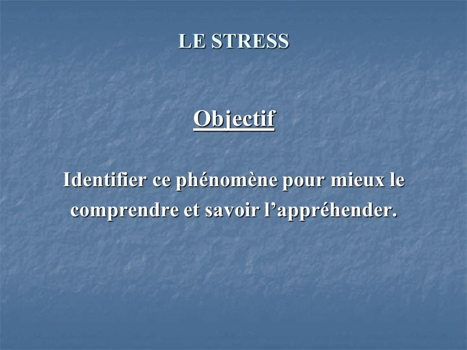 Objectif LE STRESS Identifier ce phénomène pour mieux le