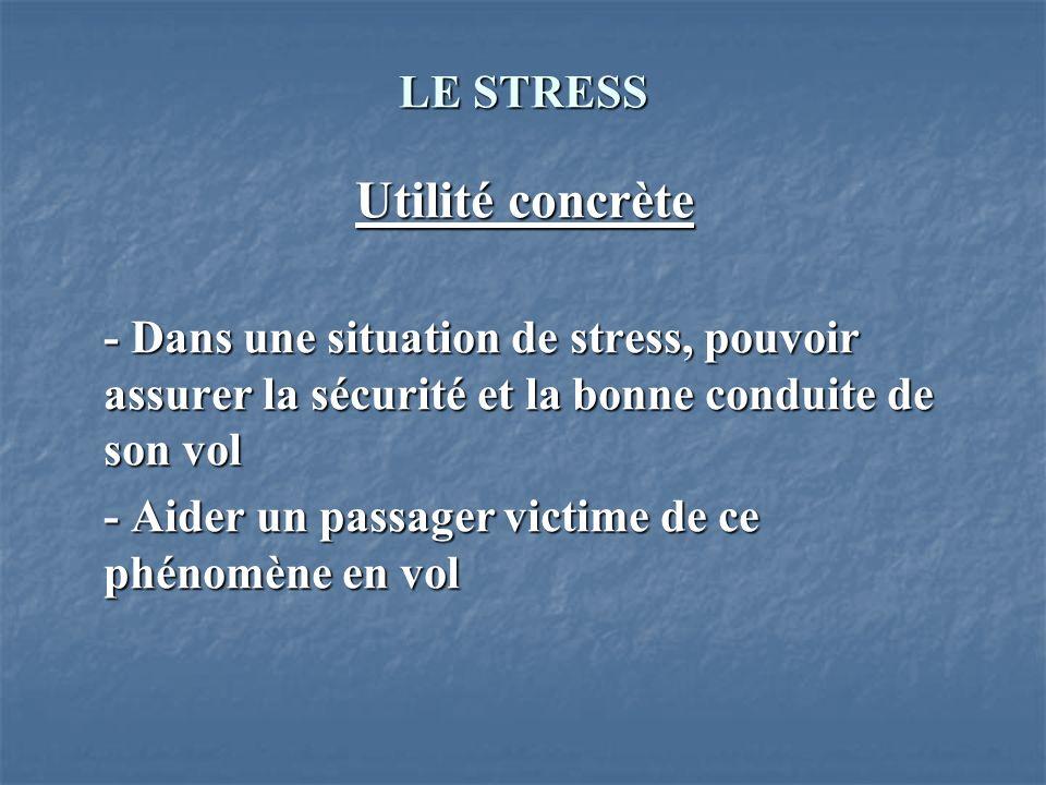 Utilité concrète LE STRESS