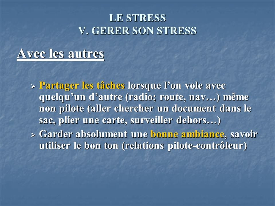 LE STRESS V. GERER SON STRESS