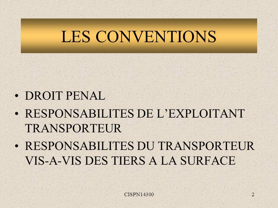 LES CONVENTIONS DROIT PENAL