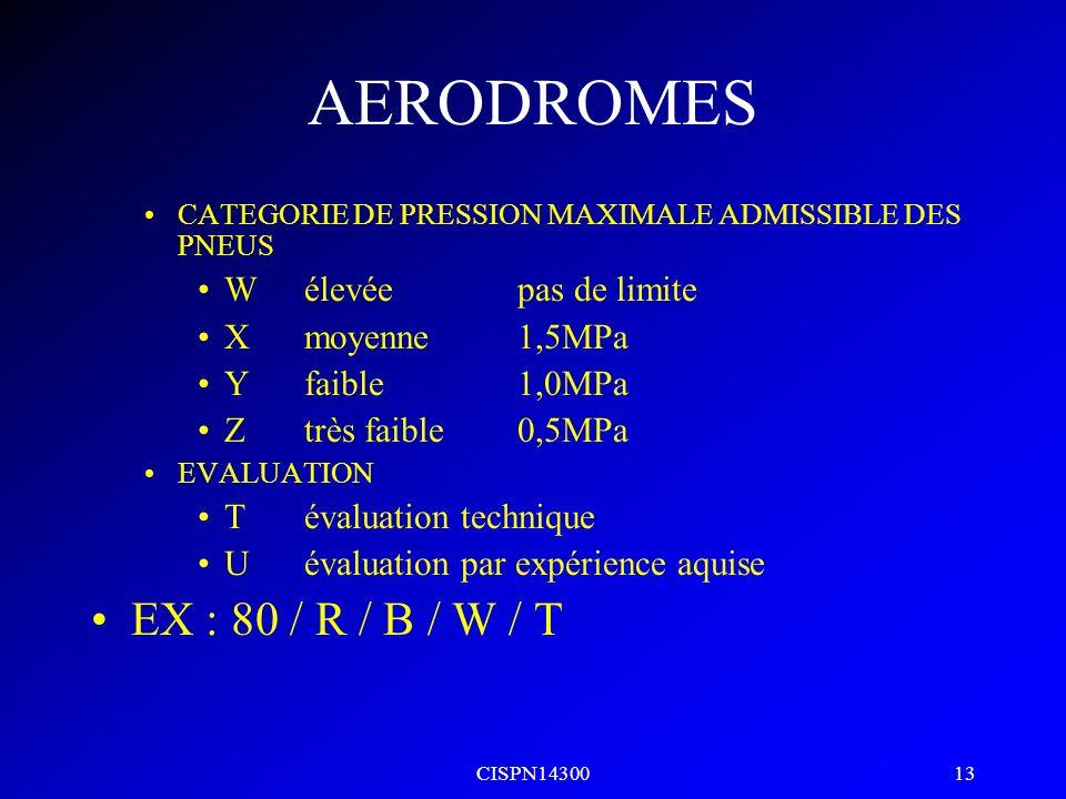 AERODROMES EX : 80 / R / B / W / T W élevée pas de limite