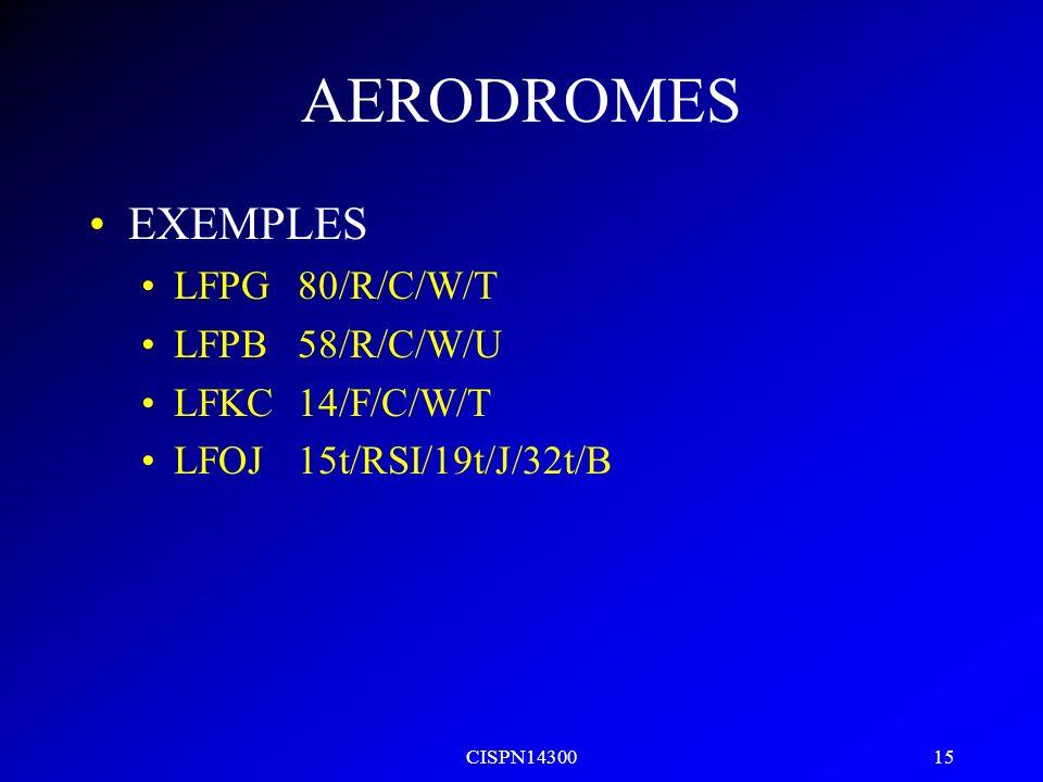 AERODROMES EXEMPLES LFPG 80/R/C/W/T LFPB 58/R/C/W/U LFKC 14/F/C/W/T