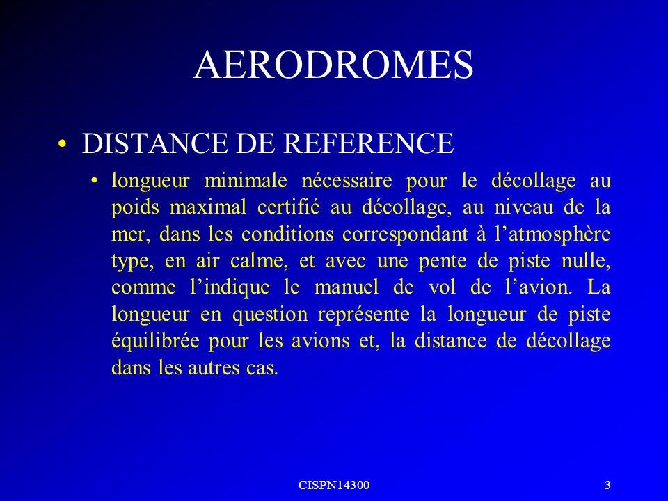 AERODROMES DISTANCE DE REFERENCE
