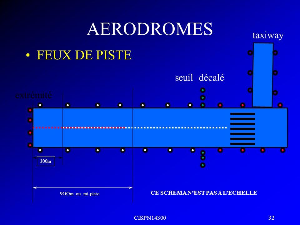 AERODROMES FEUX DE PISTE taxiway seuil décalé extrémité