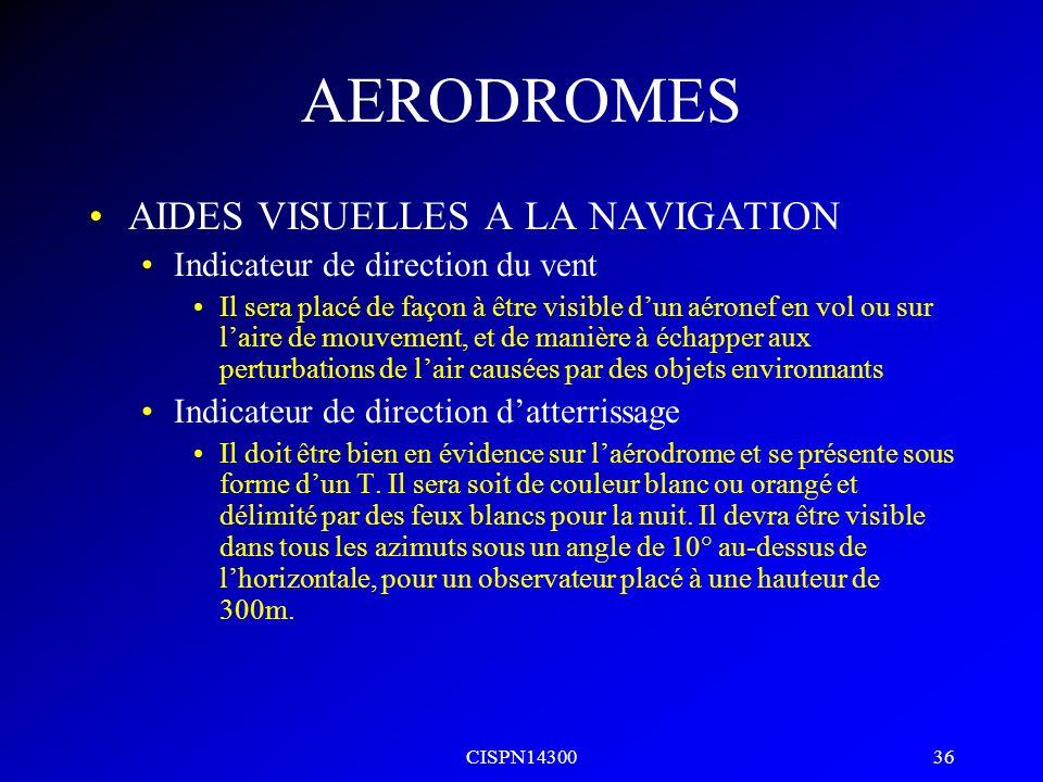 AERODROMES AIDES VISUELLES A LA NAVIGATION