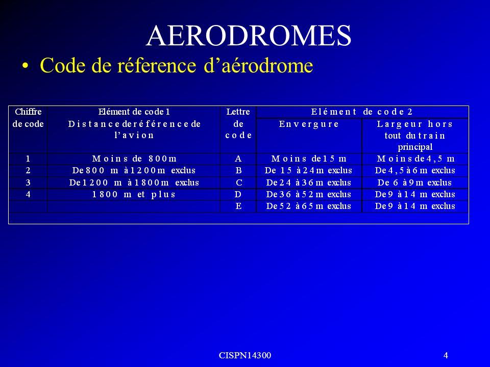 AERODROMES Code de réference d'aérodrome CISPN14300