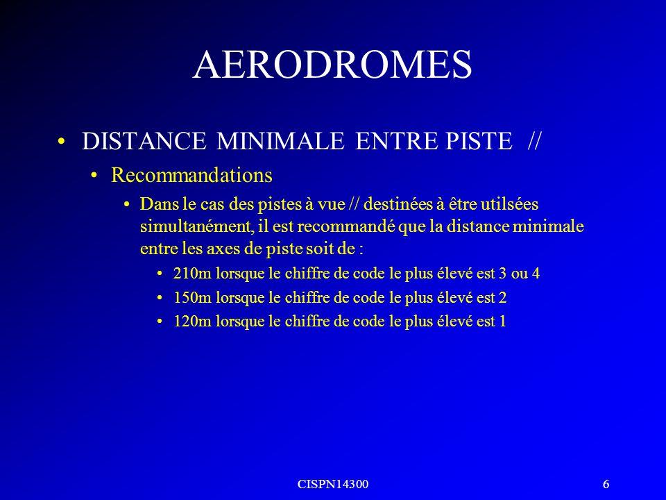 AERODROMES DISTANCE MINIMALE ENTRE PISTE // Recommandations