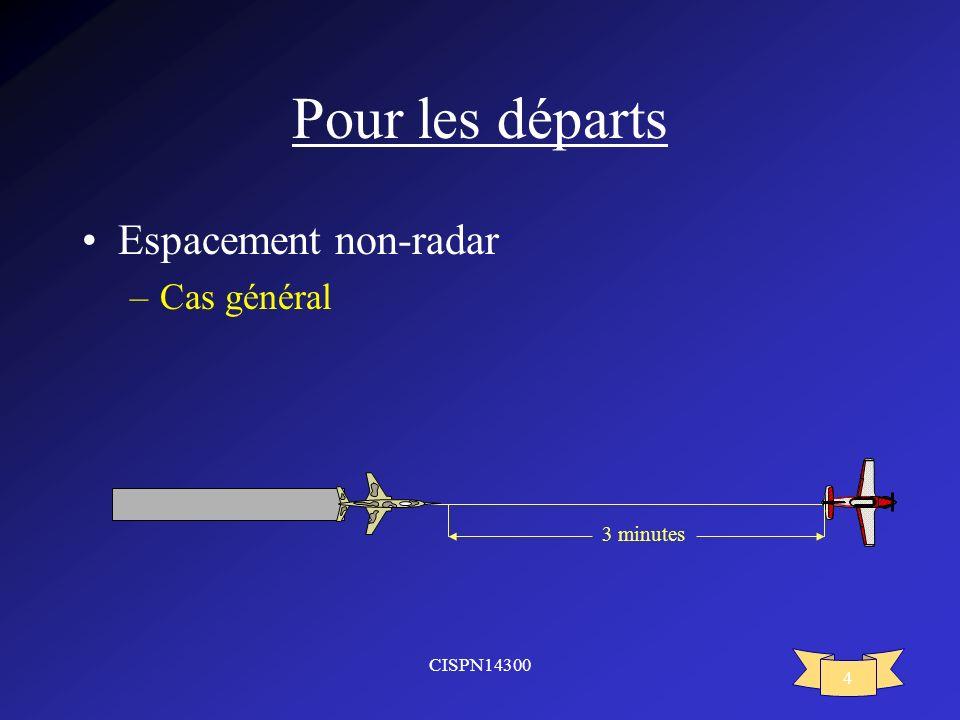 Pour les départs Espacement non-radar Cas général 3 minutes CISPN14300