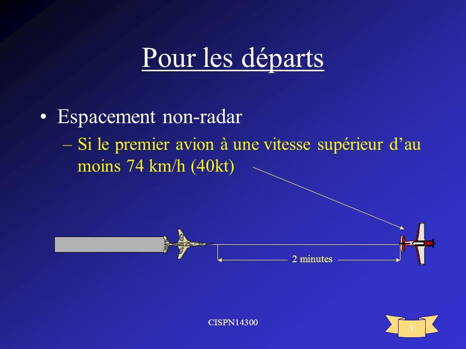 Pour les départs Espacement non-radar
