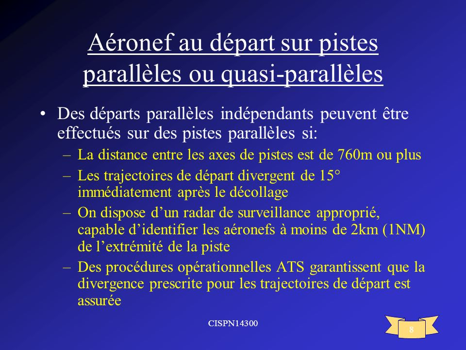 Aéronef au départ sur pistes parallèles ou quasi-parallèles