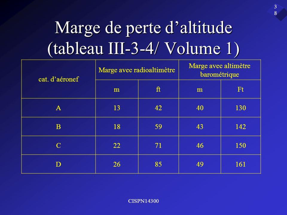 Marge de perte d'altitude (tableau III-3-4/ Volume 1)