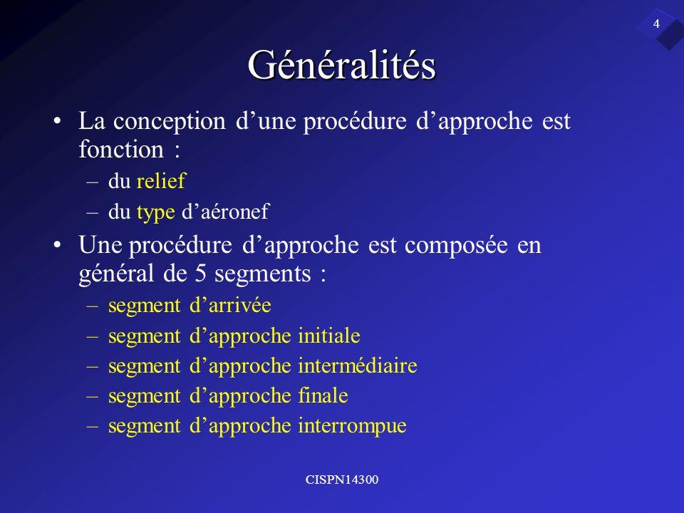 Généralités La conception d'une procédure d'approche est fonction :