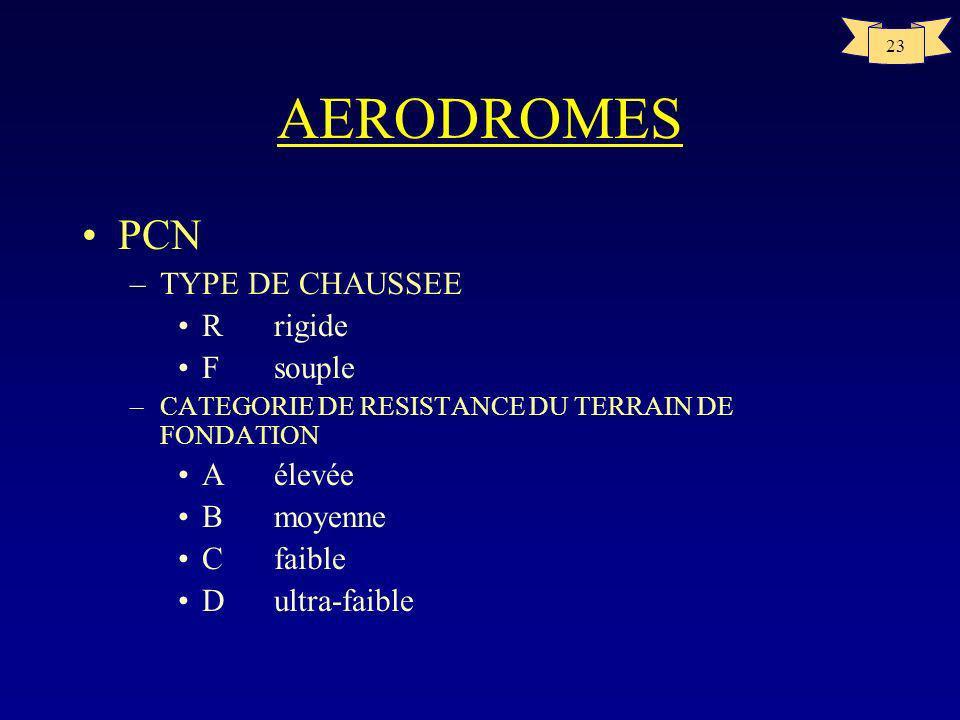 AERODROMES PCN TYPE DE CHAUSSEE R rigide F souple A élevée B moyenne