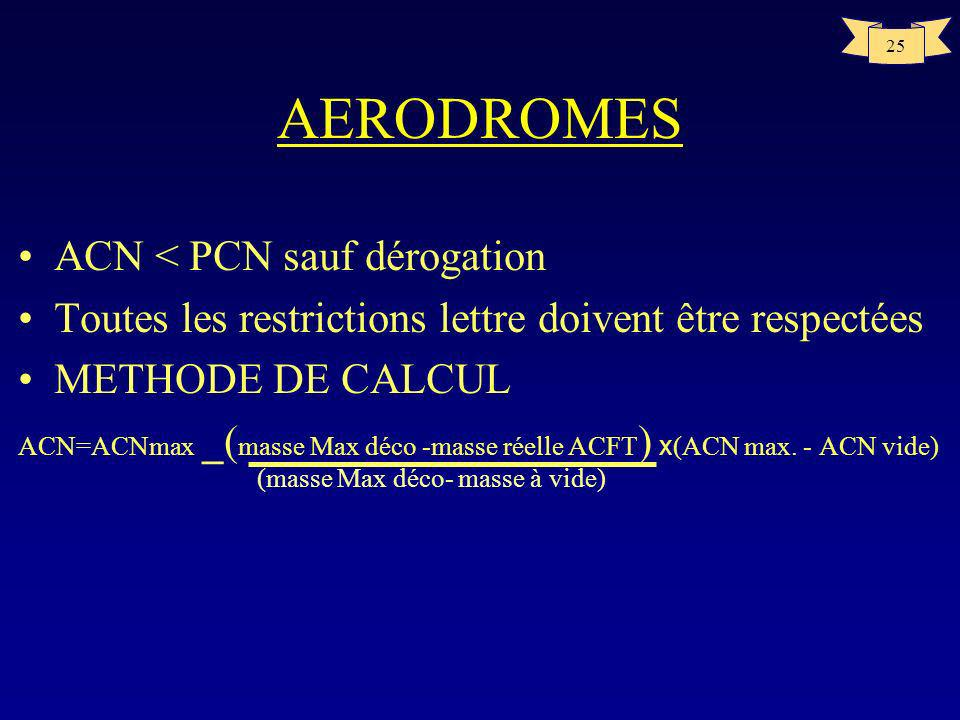 AERODROMES ACN < PCN sauf dérogation