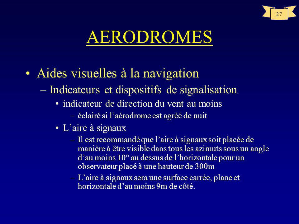 AERODROMES Aides visuelles à la navigation