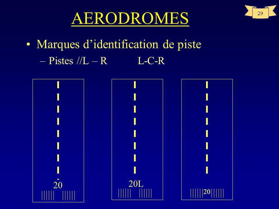 AERODROMES Marques d'identification de piste Pistes //L – R L-C-R 20L