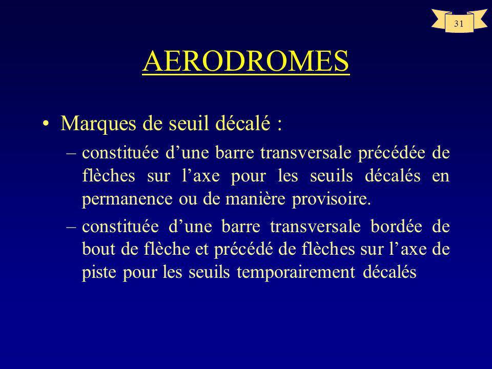 AERODROMES Marques de seuil décalé :