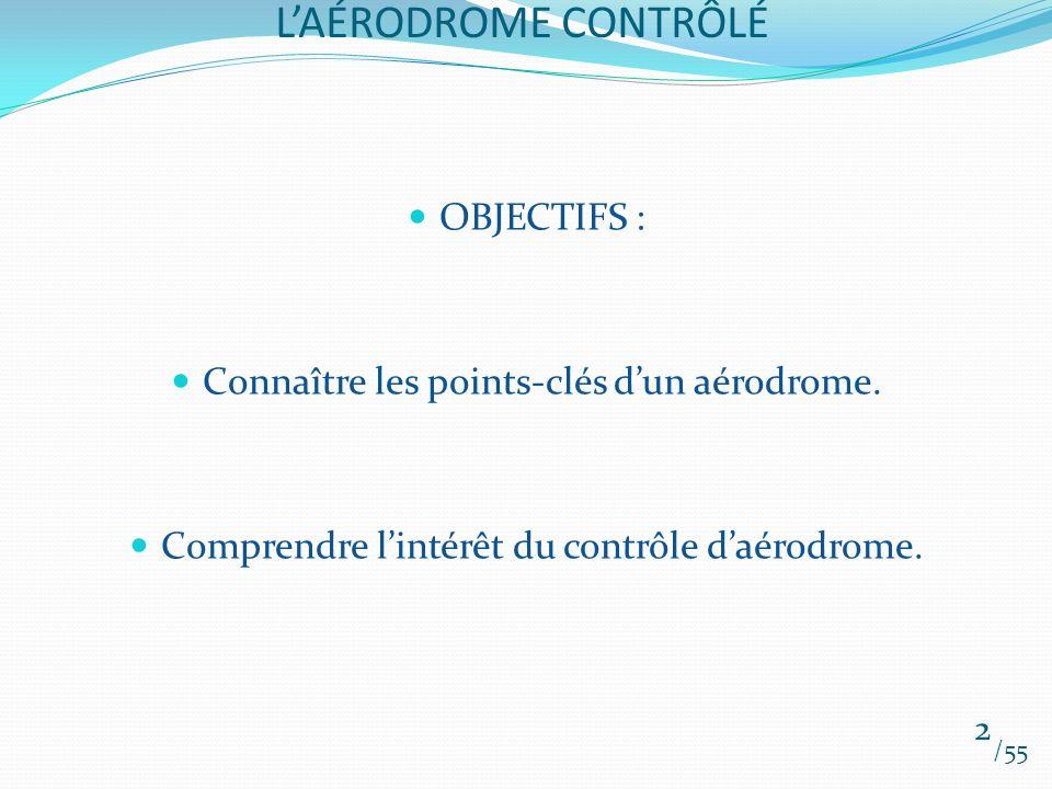 L'AÉRODROME CONTRÔLÉ OBJECTIFS :