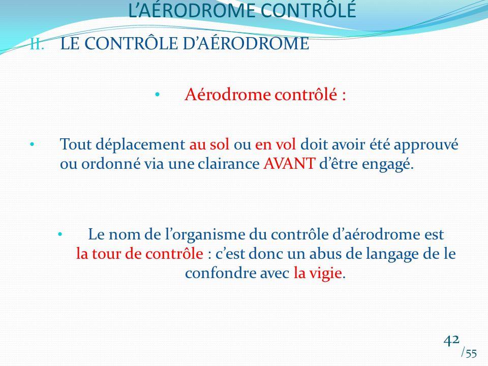 L'AÉRODROME CONTRÔLÉ LE CONTRÔLE D'AÉRODROME Aérodrome contrôlé :