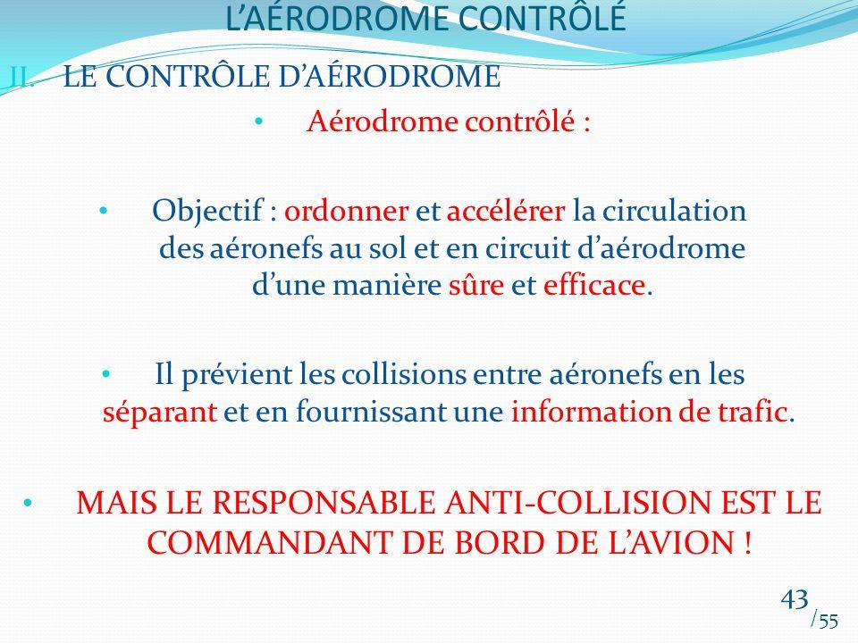 L'AÉRODROME CONTRÔLÉ LE CONTRÔLE D'AÉRODROME. Aérodrome contrôlé :