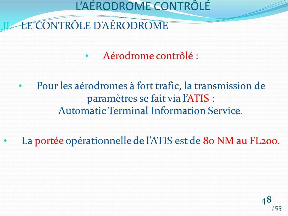 La portée opérationnelle de l'ATIS est de 80 NM au FL200.
