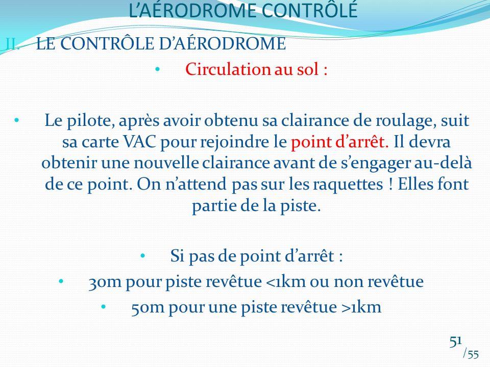 L'AÉRODROME CONTRÔLÉ LE CONTRÔLE D'AÉRODROME Circulation au sol :