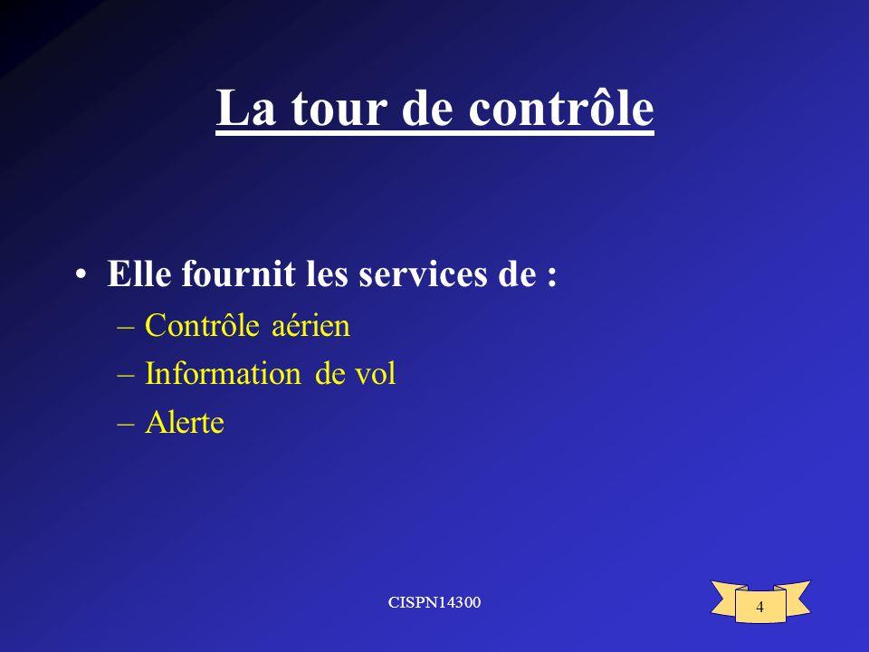 La tour de contrôle Elle fournit les services de : Contrôle aérien