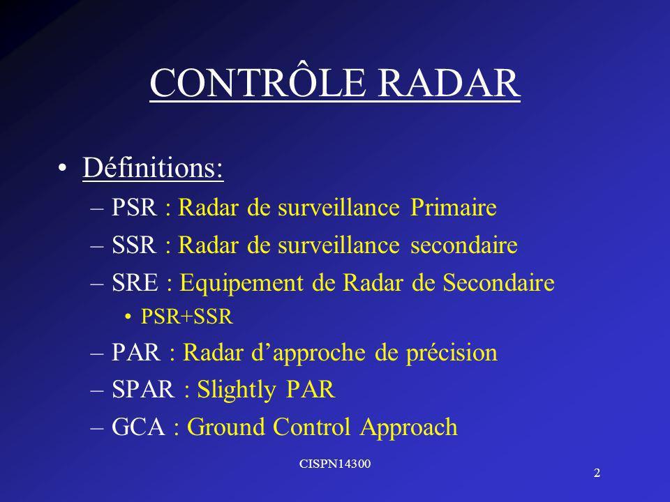 CONTRÔLE RADAR Définitions: PSR : Radar de surveillance Primaire