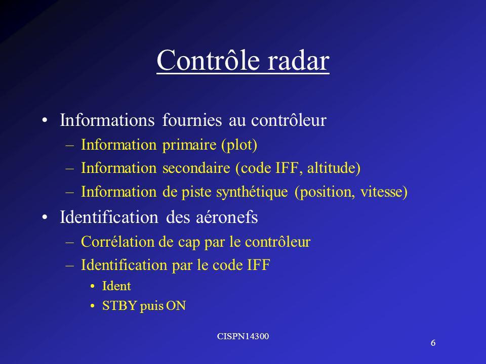 Contrôle radar Informations fournies au contrôleur
