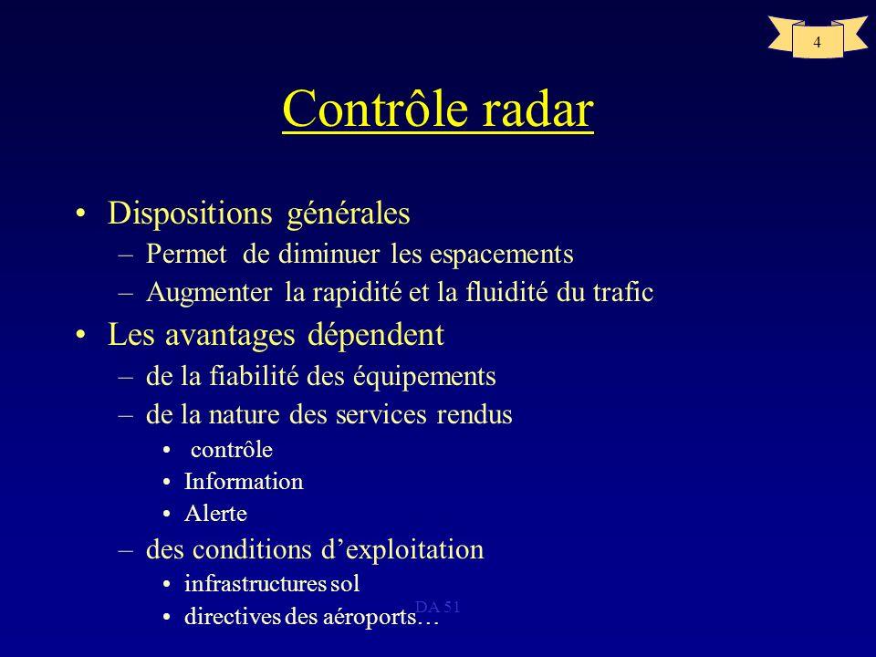 Contrôle radar Dispositions générales Les avantages dépendent