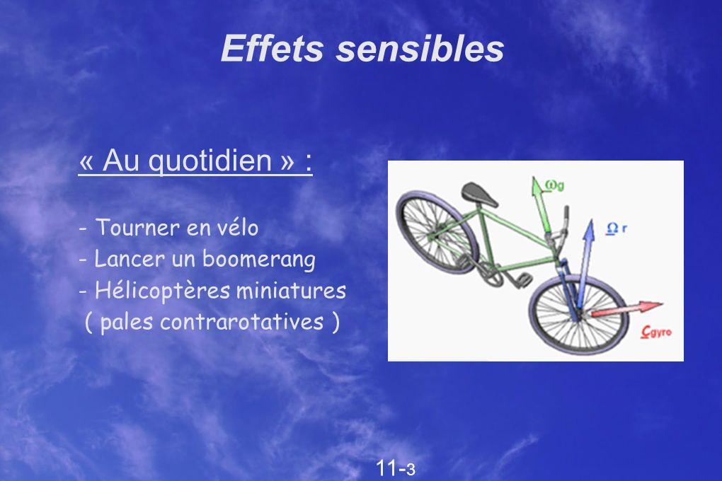 Effets sensibles « Au quotidien » : - Tourner en vélo