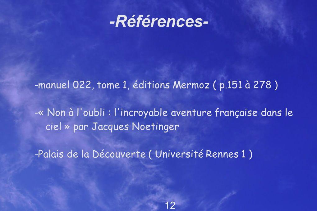 -Références- -manuel 022, tome 1, éditions Mermoz ( p.151 à 278 )