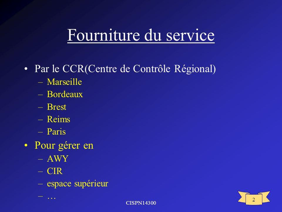 Fourniture du service Par le CCR(Centre de Contrôle Régional)