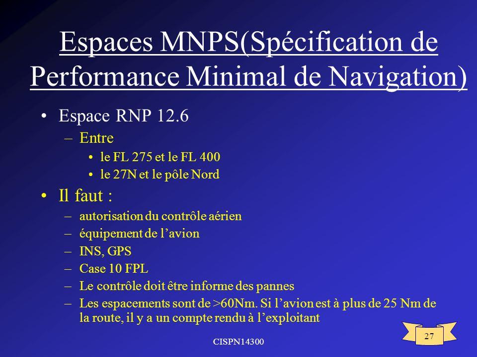 Espaces MNPS(Spécification de Performance Minimal de Navigation)