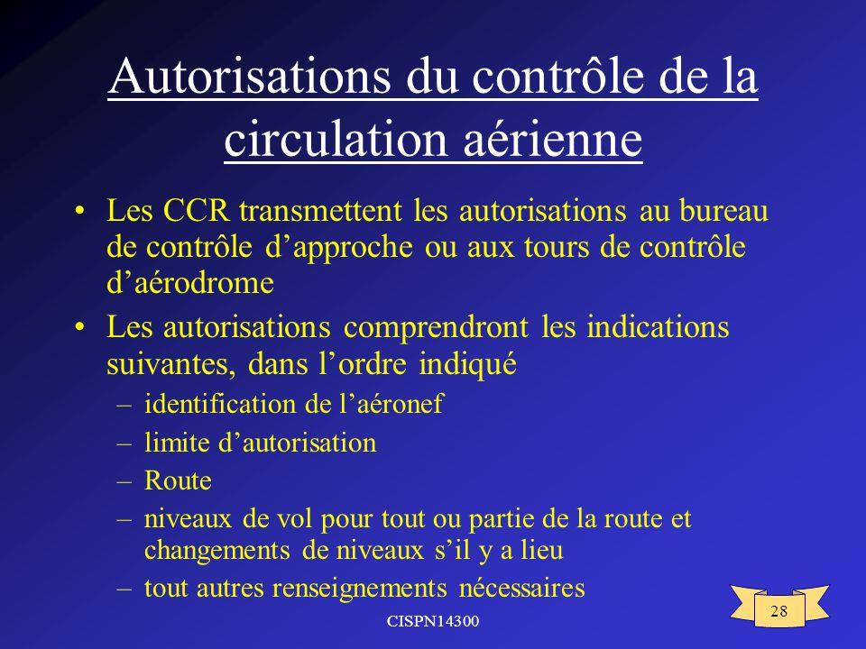Autorisations du contrôle de la circulation aérienne