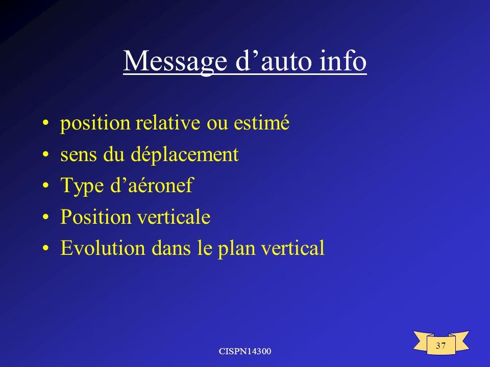 Message d'auto info position relative ou estimé sens du déplacement
