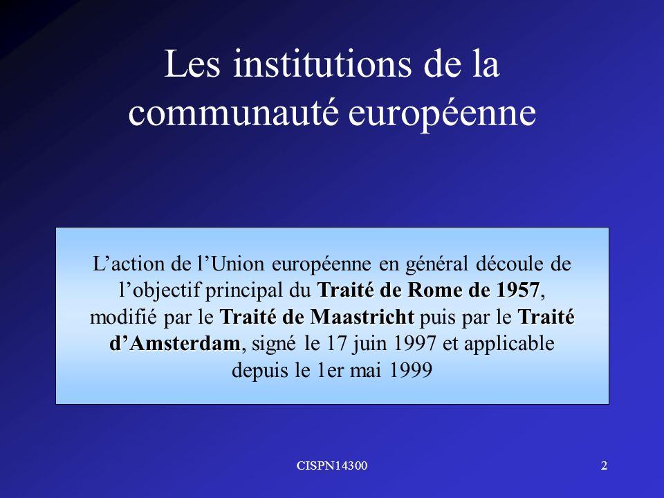 Les institutions de la communauté européenne