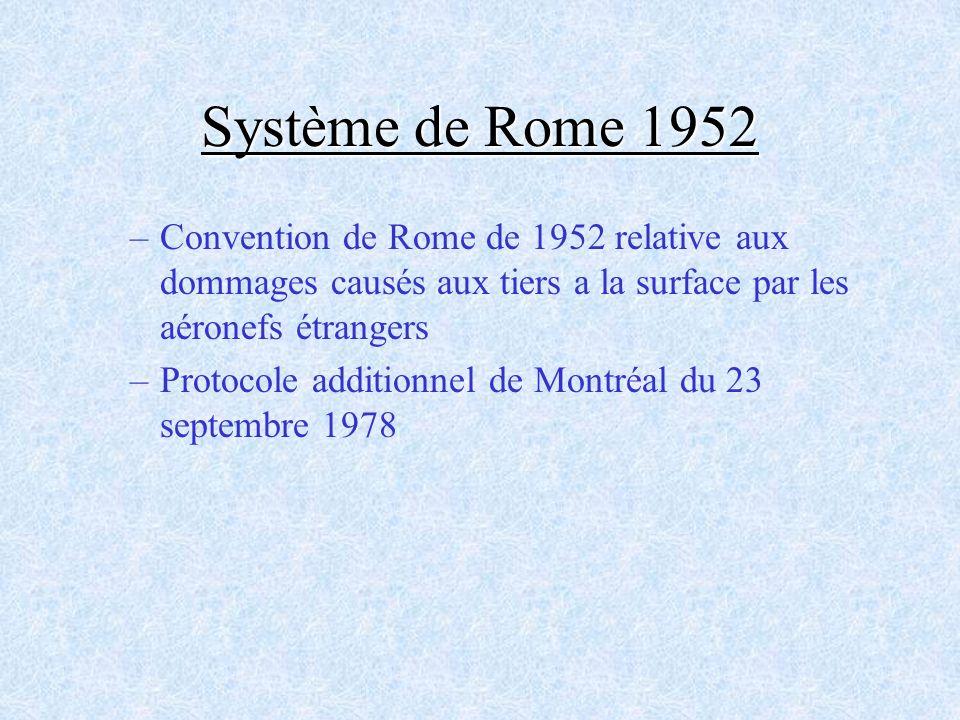 Système de Rome 1952 Convention de Rome de 1952 relative aux dommages causés aux tiers a la surface par les aéronefs étrangers.