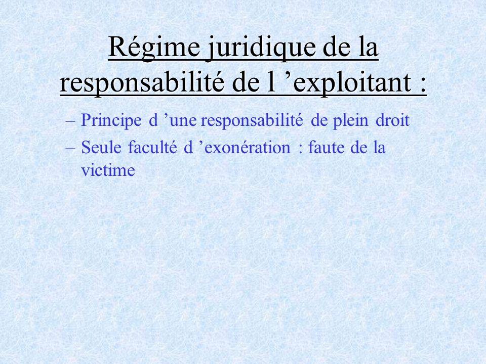 Régime juridique de la responsabilité de l 'exploitant :