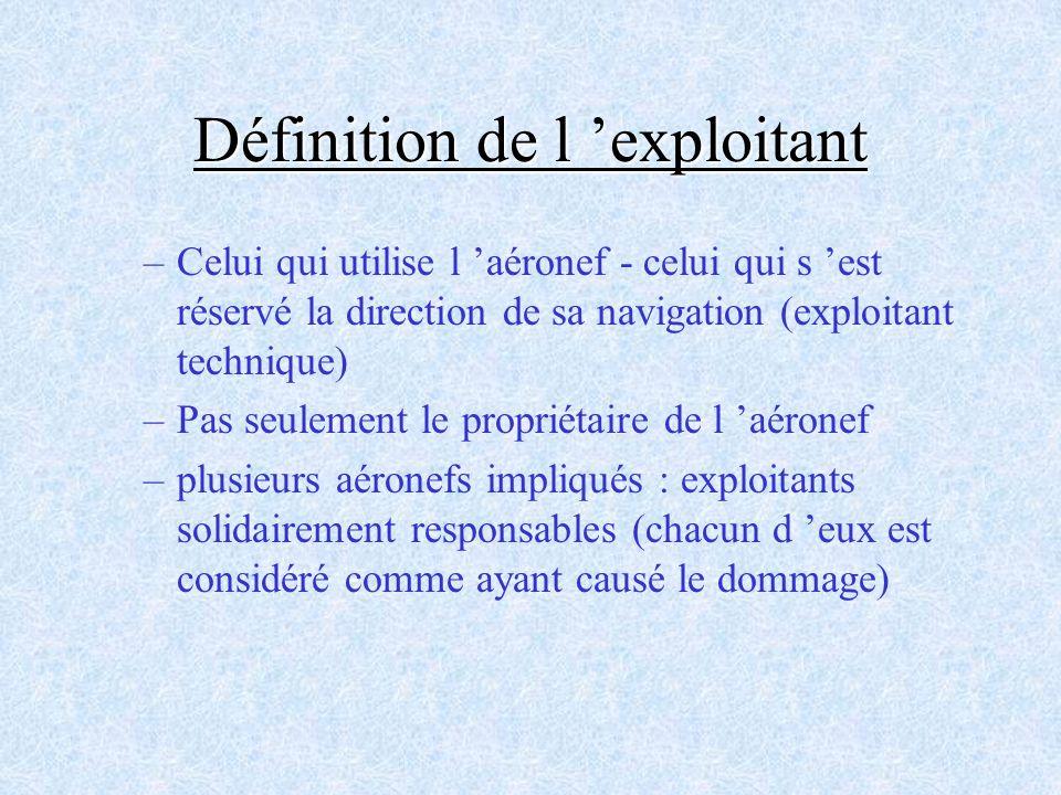 Définition de l 'exploitant
