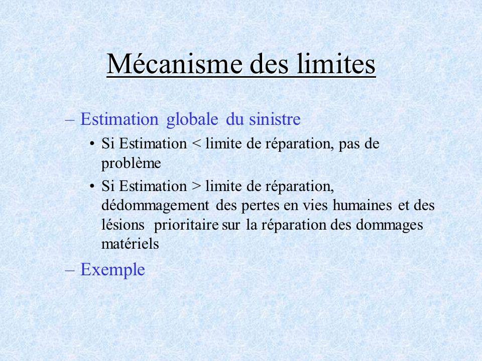Mécanisme des limites Estimation globale du sinistre Exemple