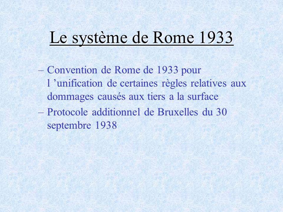 Le système de Rome 1933 Convention de Rome de 1933 pour l 'unification de certaines règles relatives aux dommages causés aux tiers a la surface.